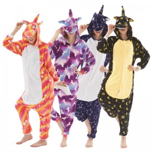 2019 New Adult Cartoon Flannel Unisex Unicorn Onesie Animal Onesies Anime Kigurumi Costume Pajamas Sets