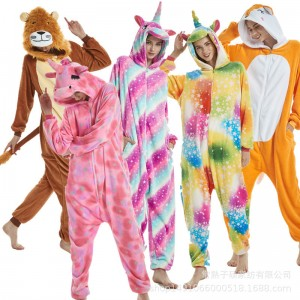 2019 New Adult Cartoon Flannel Unisex Unicorn Deer Tiger Fox Lion Animal Onesies Anime Kigurumi Costume Pajamas Sets