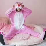 Adult Cartoon Flannel Unisex Pink Leopard Onesie Animal Onesies Anime Kigurumi Costume Pajamas Sets KT114
