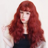 65cm Long Curly Taro Yellow Brown Retro Red Wig Synthetic Party Hair Anime Cosplay Lolita Wigs CS-298