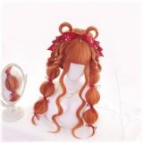 70cm Long Curly Orange Hair Wig Synthetic Anime Cosplay Lolita Wig CS-820A