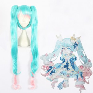 120cm Long Curly BlueΠnk Mixed 2019 Vocaloid Snow Miku Wig Synthetic Anime Cosplay Wigs 2Ponytails CS-403A