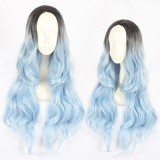 60cm Long Wave Black&Blue Mixed Anime Hair Wig Synthetic Cosplay Lolita Wigs CS-406A