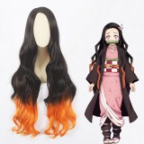 100cm Long Curly Black&Orange Mixed Mitsuri Kanroji Kamado Nezuko Wig Synthetic Anime Cosplay Wigs CS-471A