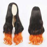 100cm Long Curly Black&Orange Mixed Demon Slayer Kamado Nezuko Wig Synthetic Anime Cosplay Wigs CS-471A