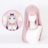 65cm Long Straight Light Pink Kaguya Sama Fujiwara Chika Wig Synthetic Anime Cosplay Wigs CS-472A