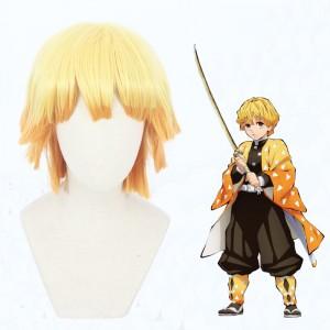 30cm Short Orange Mixed Mitsuri Kanroji Agatsuma Zenitsu Wig Synthetic Anime Cosplay Wigs CS-471B