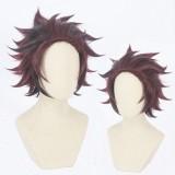 30cm Short Wine Red Mixed Demon Slayer Kamado Tanjirou Wig Synthetic Anime Cosplay Wigs CS-471C