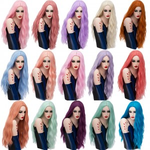 2019 New Fashion Halloween 70cm Long Curly Multi Colors Synthetic Anime Hair Wig Cosplay Lolita Wigs