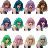 2019 New Fashion 35cm Short Curly Synthetic Anime Wig Cosplay Lolita Wig For Halloween Party With Multi Colors