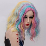 2019 New Fashion 40cm Short Curly Multi Colors Mixed Anime Cosplay Wig Synthetic Party Halloween Lolita Wigs