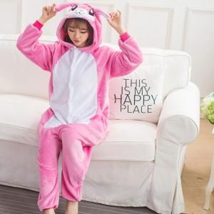 Adult Cartoon Flannel Unisex Rose Banny Rabbit Onesie Animal Onesies Anime Kigurumi Costume Pajamas Sets KT119