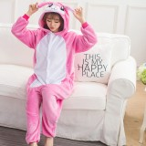 Adult Cartoon Flannel Unisex Rose Banny Rabbit Onesie Animal Onesies Anime Kigurumi Costume Pajamas Sets KT119