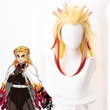 50cm Long Blonde&Red Mitsuri Kanroji Rengoku Kyoujurou Wig Synthetic Anime Cosplay Wigs With One Ponytail CS-471K
