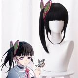 40cm Medium Long Black Mitsuri Kanroji Tsuyuri Kanawo Wig Synthetic Anime Cosplay Wig With One Ponytail CS-471J