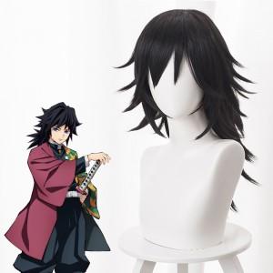 55cm Long Black Demon Slayer Anime Tomioka Giyuu Wig Synthetic Cosplay Hair Wigs With One Ponytail CS-471I