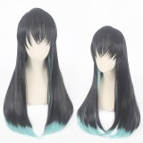 70cm Long Straight Black&Light Green Demon Slayer Tokitou Muichirou Wig Synthetic Anime Cosplay Wigs CS-471F