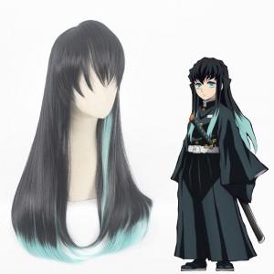 70cm Long Straight Black&Light Green Mitsuri Kanroji Tokitou Muichirou Wig Synthetic Anime Cosplay Wigs CS-471F