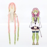 110cm Long Straight Pink&Green Mitsuri Kanroji Kanroji Mitsuri Wig Synthetic Anime Braids Cosplay Wigs CS-471G