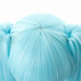 120cm Long Curly Ice Blue&White Mixed 2019 New Snow Miku Wig Vocaloid Anime Cosplay Wigs With 2Ponytails CS-075N