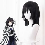 40cm Medium Long Straight Black Demon Slayer Iguro Obanai Wig Synthetic Anime Cosplay Wigs CS-471R