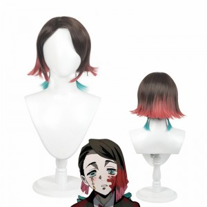 30cm Short Three Colors Mixed Demon Slayer Anime Wig Enmu Synthetic Cosplay Wigs CS-471P