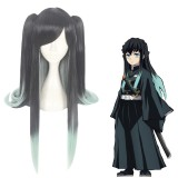 90cm Long Straight Black&Light Green Demon Slayer Tokitou Muichirou Wig Synthetic Anime Cosplay Wigs With 2Ponytails CS-471S