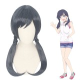 55cm Long Black&Blue Mixed Weathering With You Amano Hina Wig Stnthetic Anime Cosplay Wigs With Braids CS-421A