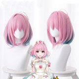 38cm Short Pink&Lake Green Mixed Aidoru Masuta Shindereragaruzu Riamu Yumemi Wig Synthetic Anime Cosplay Wig CS-430A