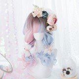 50cm Long Curly Brown Pink Blue Three Colors Mixed Synthetic Anime Cosplay Hair Lolita Wigs For Girls CS-819A