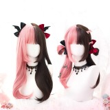 55cm Long Curly Pink&Brown Mixed Wig Synthetic Anime Cosplay Hair Lolita Wigs For Girls CS-821A