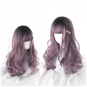 50cm Long Wave Black&Taro Mixed Wig Synthetic Anime Hair Cosplay Wig Lolita Wigs CS-826A