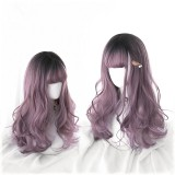50cm Long Wave Black&Taro Mixed Wig Synthetic Anime Hair Cosplay Wig Lolita Wigs CS-826A