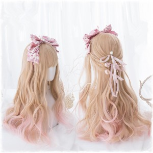 60cm Long Curly Light Pink Mixed Hair Wigs For Girl Synthetic Anime Cosplay Wig Lolita Wig CS-823A