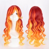 70cm Long Body Wave Orange Red Mixed Lolita Wig For Girls Synthetic Anime Cosplay Costume Wig CS-115D