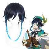 40cm Medium Long Navy Blue Mixed Genshin Impact Venti Wig Synthetic Anime Cosplay Wigs With Braids CS-455I