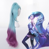 100cm Long Blue&Purple Mixed League of Legends LOL Seraphine Wig Synthetic Anime Cosplay Wigs With One Ponytail CS-119V
