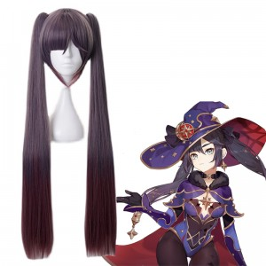 80cm Long Straight Purple Mixed Genshin Impact Anime Mona Wig Synthetic Cosplay Wigs With Two Ponytails CS-455O