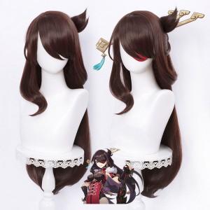 80cm Long Curly Brown Genshin Impact Anime Wig Beidou Synthetic Cosplay Hair Wigs CS-455Q