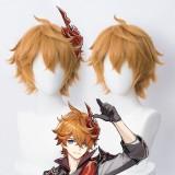 30cm Short Straight Orange Brown Genshin Impact Tartaglia Wig Synthetic Anime Cosplay Hair Wigs CS-455R