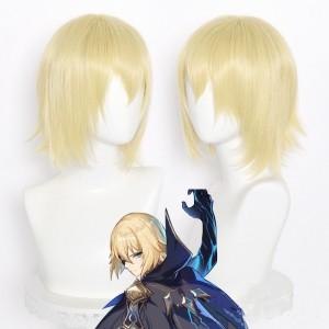 35cm Short Straight Light Golden Genshin Impact Dainsleif Wig Synthetic Anime Cosplay Hair Wigs CS-455S