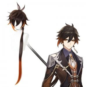 90cm Long Straight Brown&Orange Mixed Genshin Impact Zhongli Wig Synthetic Anime Cosplay Hair Wigs CS-466A