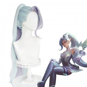 95cm Long Green Purple Mixed League of Legends LOL Zyra Wig Synthetic Cosplay Hair Wigs With One Ponytail CS-119X