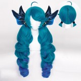 80cm Long Curly Blue Mixed League of Legends LOL Gwen Anime Wig Synthetic Cosplay Wigs With 4Ponytails CS-119W