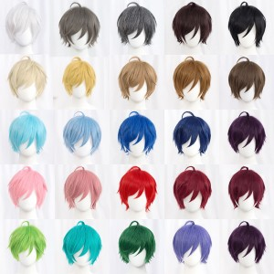 30cm Short MSN Wig Cosplay Multi Colors Straight Peluca Synthetic Anime Hair Cosplay Heat Resistant Wigs For Party