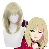 35cm Short Blonde&Pink Mixed Wonder Egg Priority Kawai Rika Wig Synthetic Anime Cosplay Wigs CS-467B
