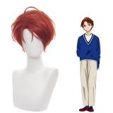 30cm Short Wine Red Wonder Egg Priority Anime Momoe Sawaki Wig Synthetic Cosplay Hair Wigs CS-467C