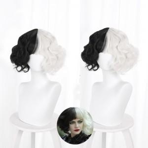 2021 New Movie Cruella de Vil Wig Cosplay 35cm Curly Black White Mixed Synthetic Anime Cosplay Costume Cruella Wig CS-478A