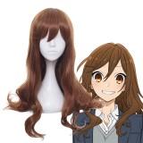 80cm Long Curly Light Brown Hair Horimiya Anime Hori Kyoko Wig Cosplay Synthetic Party Wigs CS-476B
