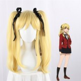 50cm Long Blonde Curly Kakegurui Meari Saotome Wig Synthetic Anime Cosplay Wigs With 2Ponytails CS-076I